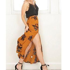 Boho Split Floral Maxi Skirt